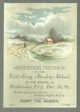 Victorian Ticket for Christmas Festival of the First Cong. Sunday School 1887