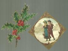 Victorian Christmas Card with Boy and Girl Walking in the Snow and Die Cut Holly