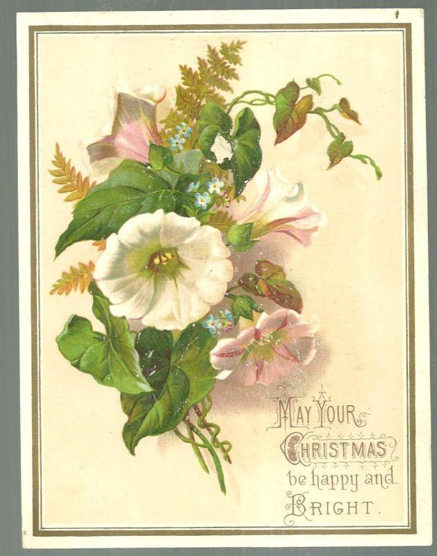 Victorian Christmas Card with Flowers May Your Christmas Be Happy and Bright