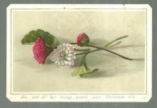 Victorian Card with Flowers Joy and All Fair Things Attend Your Christmas-Tide