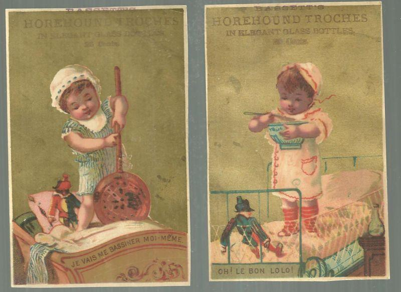 Lot of Two Victorian Trade Cards Bassett's Horehound Troches with Child in Bed