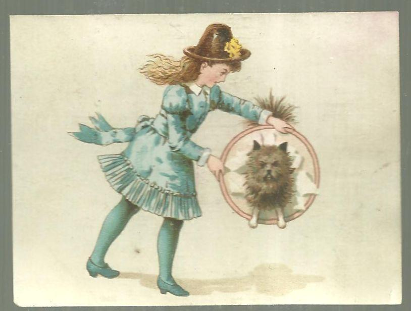 Victorian Trade Card for German Coffee with Girl and Dog Jumping Through Hoop