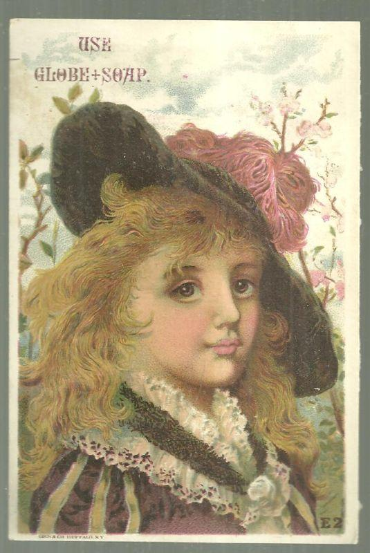 Victorian Trade Card for Globe Soap with Lovely Lady