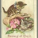 Victorian Reward of Merit with Two Kittens Playing in a Basket of Flowers