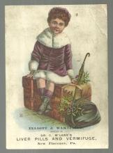 Victorian Trade Card for McLane's Pills with Little Girl Traveling for Christmas