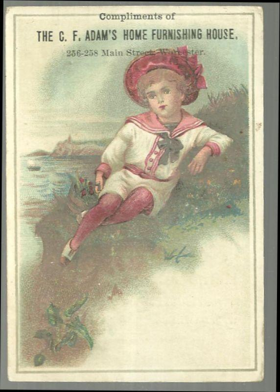 Victorian Trade Card for C. F. Adam's Home Furnishing House with Sailor Boy