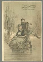Victorian Trade Card for Dalley's Pain Extractor With Man Pushing Woman on Ice