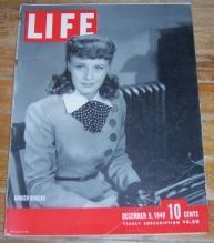 Life Magazine December 9, 1940 Ginger Rogers on Cover/Christmas Toys/Painting