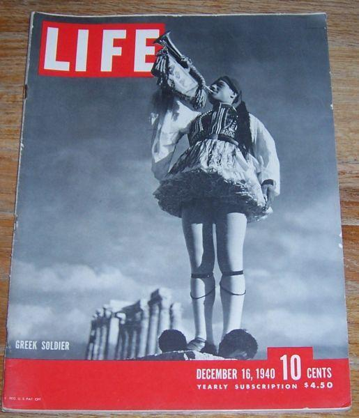Life Magazine December 16, 1940 Greek Soldier cover/Christmas Cards/Elsa Maxwell