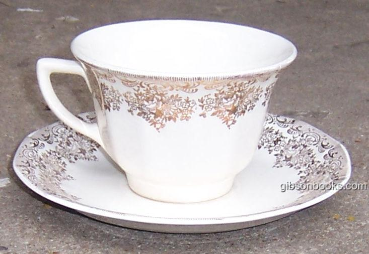 Vintage Royal China Duane Gold and White Cup and Saucer