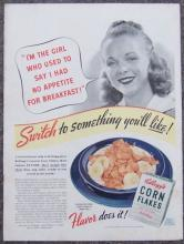 1940 Kellogg's Corn Flakes Magazine Advertisment Switch to Something You'll Like
