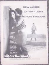 1957 Wild is the Wind Magazine Advertisement Starring Anna Magnani Anthony Quinn
