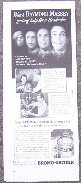 1940 Raymond Massey in Abe Lincoln Bromo-Seltzer Life Magazine Advertisment
