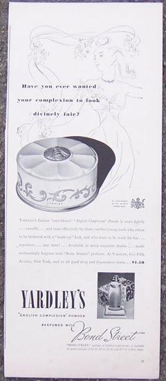 1940 Yardley's Powder and Bond Street Magazine Advertisment