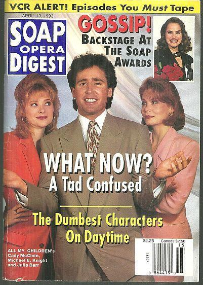 Soap Opera Digest April 13, 1993 Tad and the Ladies