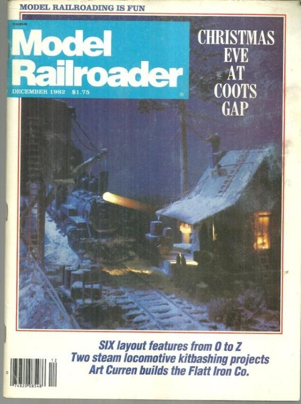 Model Railroader Magazine December 1982 Christmas Eve At Coot's Gap on Cover