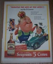 1943 Seagrams 5 Crown Whiskey Life Magazine Color Advertisement Throttle Axis
