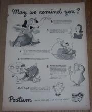 1943 World War II Postum Ed Nafziger Life Magazine Advertisement Mealtime Drink