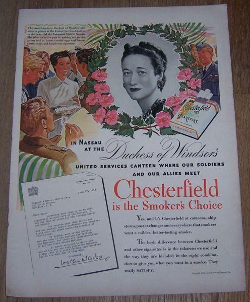 1943 World War II Chesterfield Life Magazine Color Advertisement with Duchess
