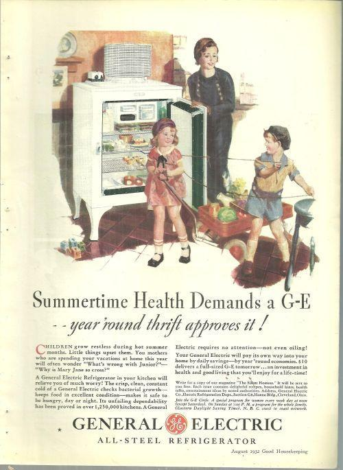 1932 Good Housekeeping Color Advertisement for General Electric Refrigerator