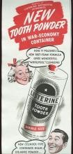 1943 World War II Magazine advertisement for Listerine Tooth Powder.