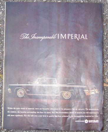 1964 Chrysler Imperial Automobile Magazine Color Advertisement