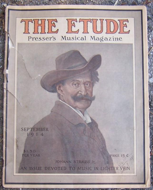 Etude Magazine September 1914 Johann Strauss, Jr. On Cover