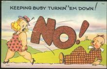Vintage Unused Comic Postcard of Busy Lady Turning 'Em Down
