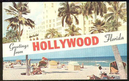 Greetings From Hollywood, Florida Vintage Postcard
