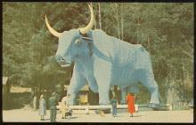 Postcard of Paul Bunyan's Blue Ox Trees of Mystery, Redwood Highway, California