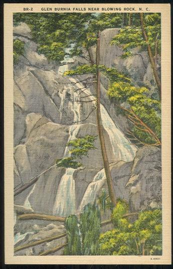 Unused Vintage Postcard of Glen Burnia Falls Near Blowing Rock, North Carolina