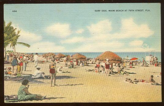 Vintage Postcard of Surf Side, Miami Beach at 79th Street, Florida 1945