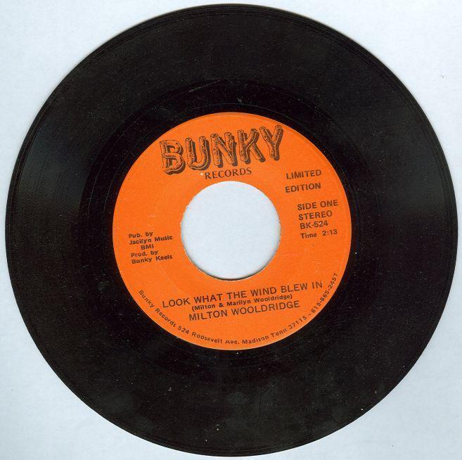 Milton Wooldridge Sings Look What the Wind Blew In 45RPM Bunky Records