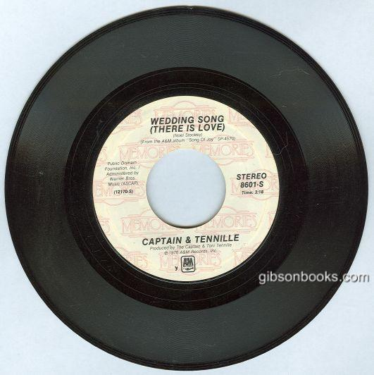 Captain and Tennille Sing Wedding Song and Song of Joy 45RPM Record