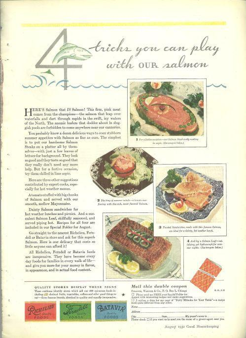 1932 Good Housekeeping Magazine Advertisement Four Tricks with Salmon