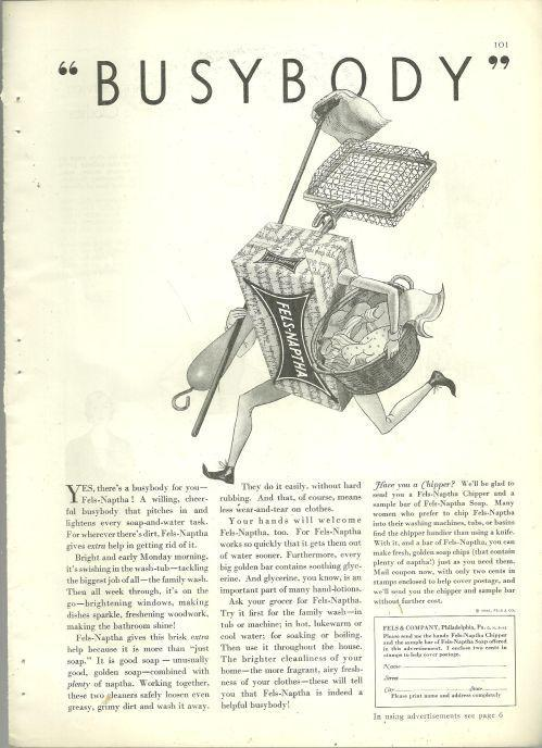 1932 Good Housekeeping Magazine Advertisement for Fels-Naptha Soap Busybody