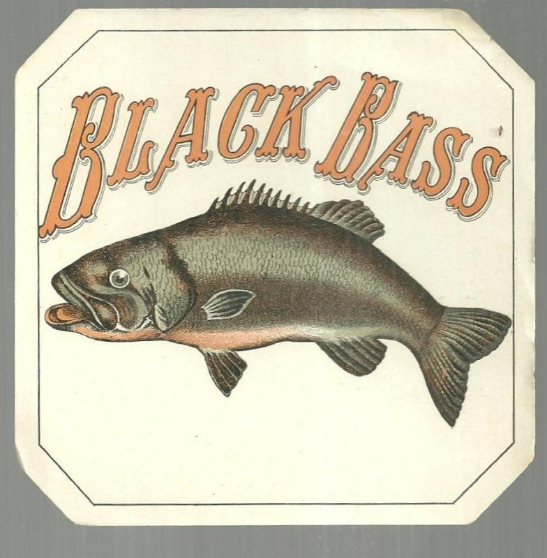 Vintage Black Bass Cigar Label with Bass Fish