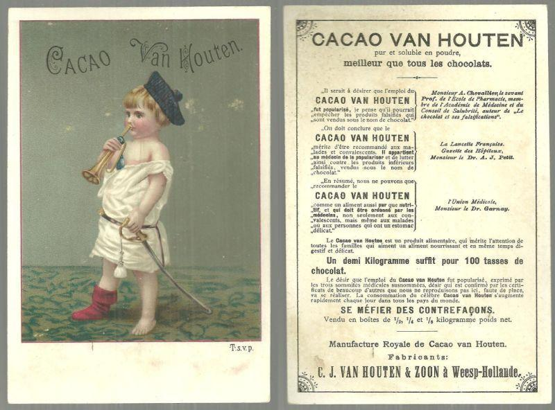 Victorian Trade Card for Cacao Van Houten with Little Boy Dressed as Soldier