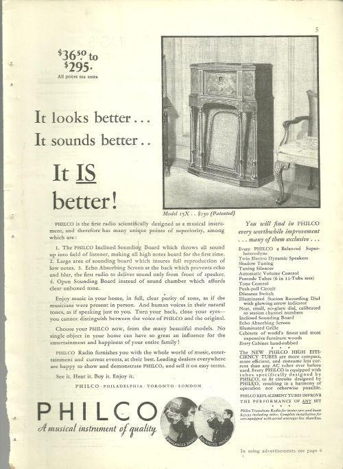 1932 Good Housekeeping Magazine Advertisement for Philco Radios