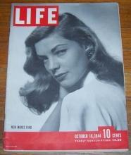 Life Magazine October 16, 1944  Lauren Bacall/Danny Kaye/William Penn/Sky Battle