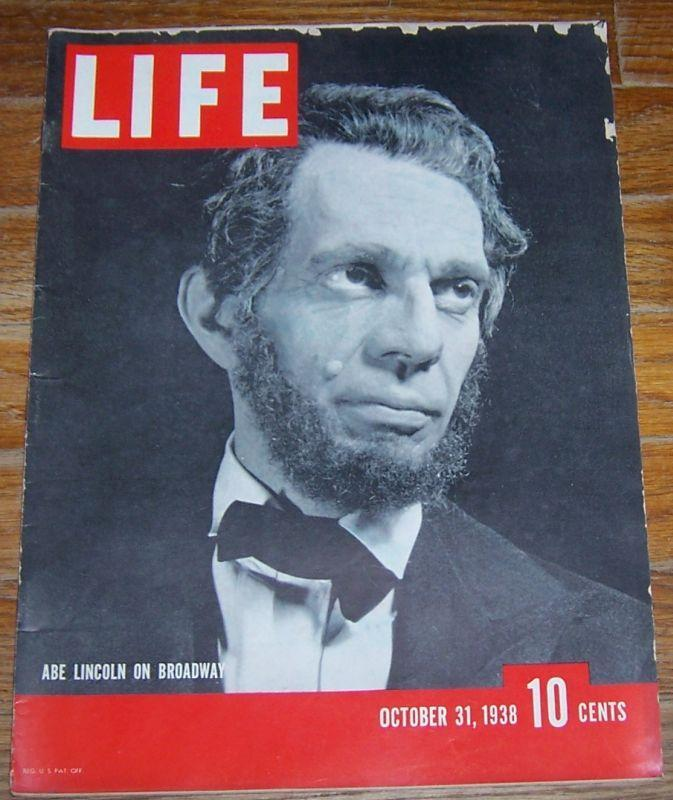 Life Magazine October 31, 1938 Raymond Massey as Abe Lincoln/Bette Davis/Dewey