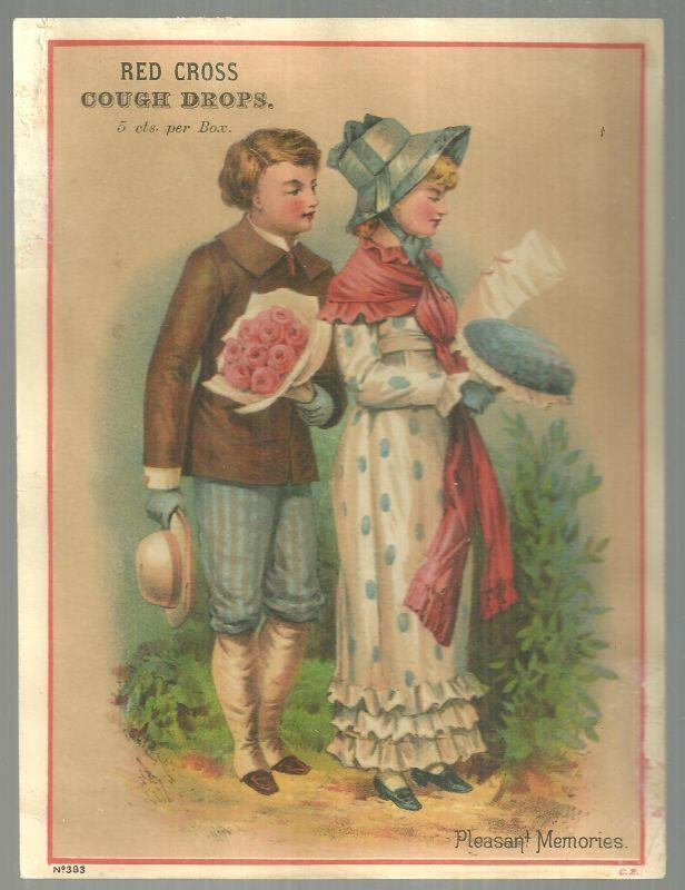 Victorian Trade Card for Red Cross Cough Drops With Lovely Courting Couple