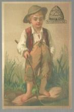 Victorian Trade Card Partridge and Richardson's Bee Hive Stores With Boy Fishing