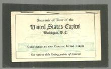 Vintage Souvenir of Tour of the United States Capitol, Washington, D. C. Ticket