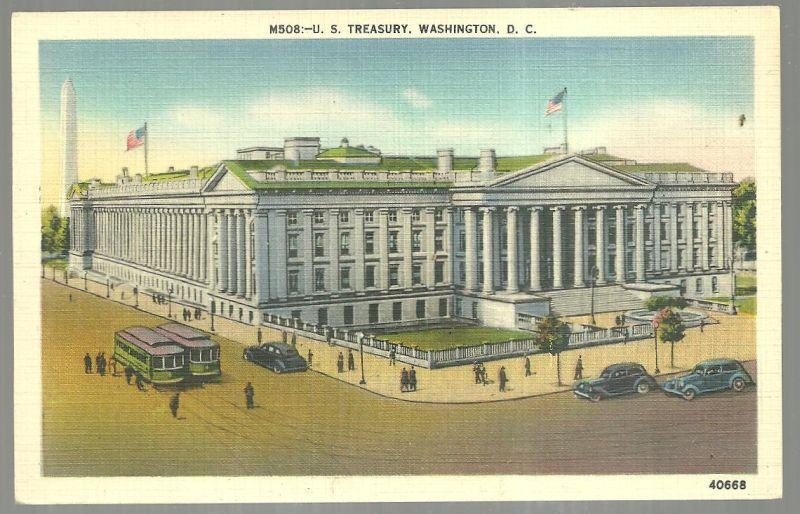 Vintage Unused Postcard of U. S. Treasury, Washington D. C.