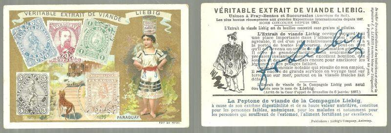 Victorian Trade Card for Liebig Extract with Lovely Lady From Paraguay