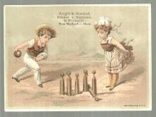 Victorian Trade Card for Knight and Howland Printers with Boy and Girl Bowling
