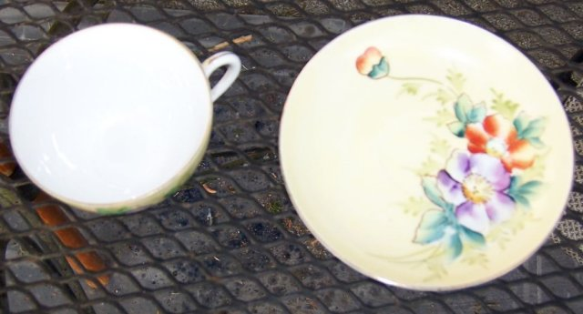 Meito China Cup and Saucer Handpainted Flowers