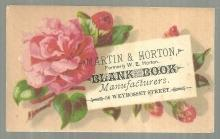 Victorian Trade Card for Martin and Horton, Blank Book Manufactures with Roses