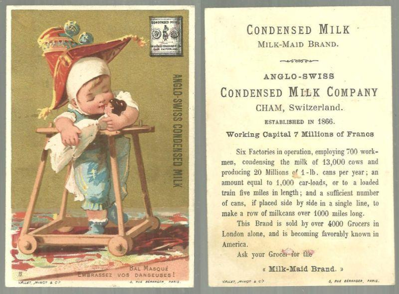 Victorian Trade Card for Anglo-Swiss Condensed Milk With Bal Masque